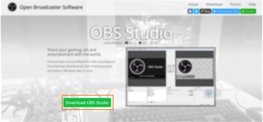 Image showing the OBS download button