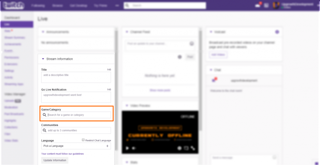 Image showing the Twitch dashboard game input location