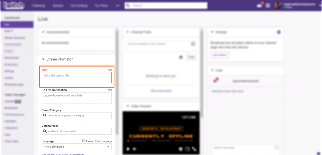 Image showing the Twitch dashboard title input location