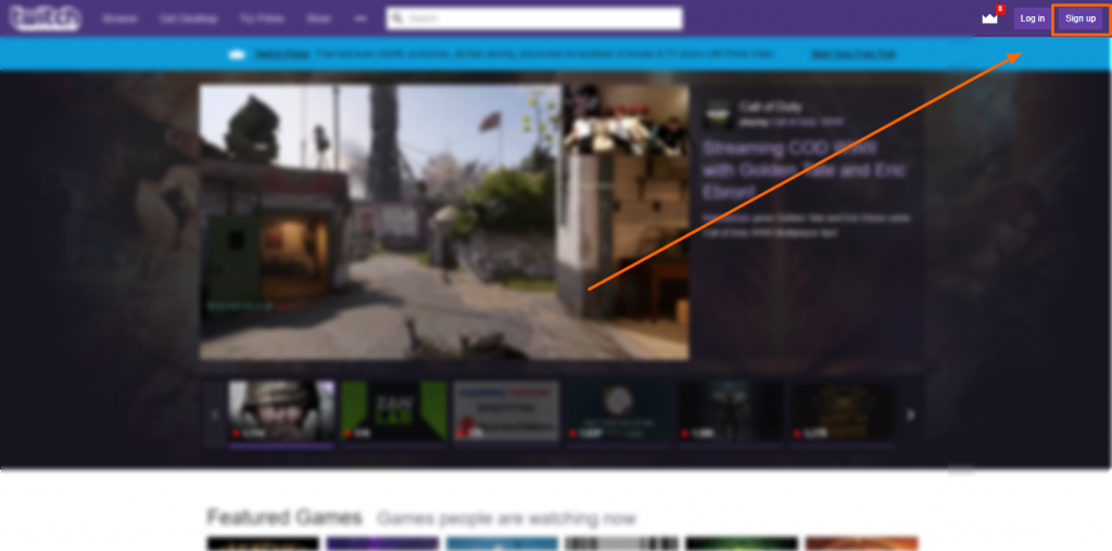 Image showing the Twitch signup button location