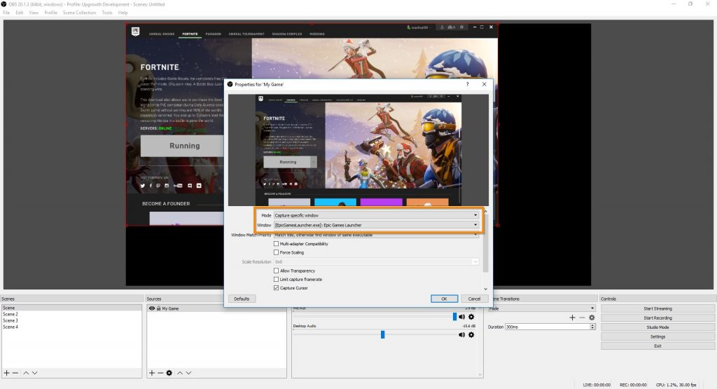 OBS Studio Game Capture Window